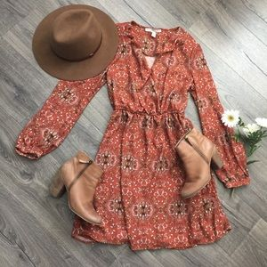 Forever 21 ~ burnt orange boho dress ~ Size Medium